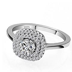 preiswerte Ringe-Damen Kubikzirkonia Stapel Ring / Verlobungsring - S925 Sterling Silber Romantisch 5 / 6 / 7 Weiß Für Geschenk / Verabredung