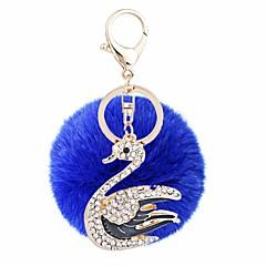 お買い得  キーホルダー-白鳥 ボール型 キーチェーン パープル / ブルー / ピンク 円形, 不規則な ジルコン, ラビットファー, 合金 甘い, ファッション 用途 贈り物 / 日常