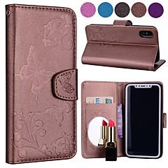 Недорогие Кейсы для iPhone-Кейс для Назначение Apple iPhone X Бумажник для карт / со стендом / С узором Чехол Бабочка / Цветы Твердый Кожа PU для iPhone X