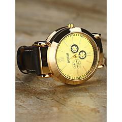 preiswerte Herrenuhren-Herrn Armbanduhr Japanisch Chronograph / Kreativ / Neues Design Leder Band Luxus / Armreif Schwarz / Braun