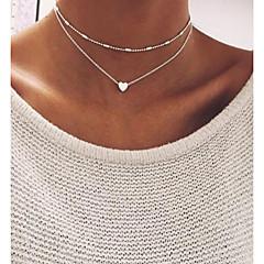 preiswerte Halsketten-Damen Mehrschichtig / Stilvoll Charm Halskette / Perlenkette - Herz Klassisch, Retro, Modisch Gold, Silber 46 cm Modische Halsketten 1pc Für Alltag, Ausgehen