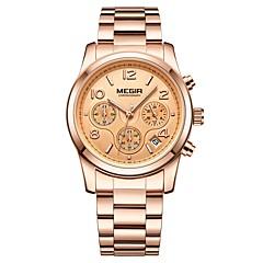 preiswerte Damenuhren-MEGIR Damen Kleideruhr Armbanduhr Japanisch Quartz Schwarz / Gold 30 m Wasserdicht Kalender Chronograph Analog damas Modisch Elegant - Gold Silber