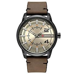 preiswerte Herrenuhren-Herrn Armbanduhr Chronograph / Armbanduhren für den Alltag / Cool Echtes Leder Band Armreif / Modisch Rot / Braun / Grün