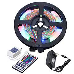 preiswerte LED Lichtstreifen-HKV 5m Flexible LED-Leuchtstreifen / Lichtsets 300 LEDs 3528 SMD 1 44Tastenfernbedienung / 1 x 2A Netzteil RGB Schneidbar / Verbindbar / Selbstklebend 100-240 V