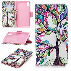 Недорогие Кейсы для iPhone-Кейс для Назначение Apple iPhone XR / iPhone XS Max Кошелек / Бумажник для карт / со стендом Чехол дерево Твердый Кожа PU для iPhone XR / iPhone XS Max