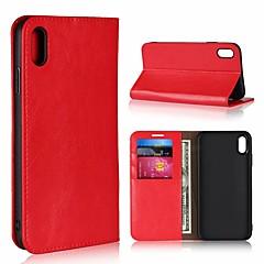 Недорогие Кейсы для iPhone 5-Кейс для Назначение Apple iPhone XR / iPhone XS Max Бумажник для карт / со стендом Чехол Однотонный Твердый Настоящая кожа для iPhone XS / iPhone XR / iPhone XS Max