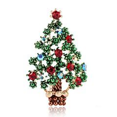 お買い得  ブローチ-女性用 切り抜き / クラシック ブローチ  -  ラインストーン クリスマスツリー レディース, シンプル, クラシック ブローチ ジュエリー グリーン 用途 クリスマス