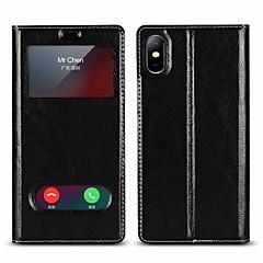 Недорогие Кейсы для iPhone 7-Кейс для Назначение Apple iPhone X / iPhone 8 Plus Кошелек / Защита от удара / со стендом Чехол Однотонный Твердый Настоящая кожа для iPhone X / iPhone 8 Pluss / iPhone 8