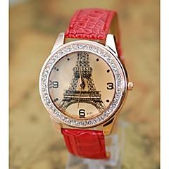 preiswerte Armbanduhren für Paare-Damen Paar Sportuhr Quartz Niedlich Armbanduhren für den Alltag Leder Band Analog Freizeit Zeichentrick Schwarz / Weiß / Blau - Kaffee Rot Blau