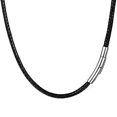 Недорогие Ожерелья-Муж. Плетение Цепочка - Нержавеющая сталь, Кожа Мода Черный 55 cm Ожерелье Бижутерия 1шт Назначение Подарок, Повседневные