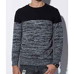 cheap Men's Sweaters & Cardigans-Men's Going out Street chic Color Block Long Sleeve Regular Pullover, Round Neck Blue / Black / Red L / XL / XXL