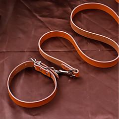 お買い得  犬用首輪/リード/ハーネス-ネズミ / 犬用 / ウサギ リード 防水 / 携帯用 / ミニ ソリッド レザーレット ブラック / Brown