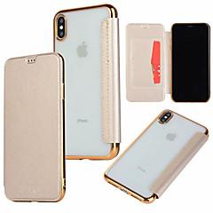 Недорогие Кейсы для iPhone X-Кейс для Назначение Apple iPhone XR / iPhone XS Max Бумажник для карт / Покрытие / Флип Чехол Однотонный Твердый Кожа PU для iPhone XS / iPhone XR / iPhone XS Max