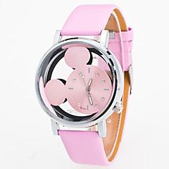 preiswerte Damenuhren-Damen Armbanduhr Quartz Armbanduhren für den Alltag lieblich Leder Band Analog Modisch Schwarz / Weiß / Blau - Blau Rosa Schwarz / Weiß
