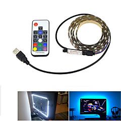 preiswerte LED Lichtstreifen-1m Leuchtgirlanden 60 LEDs 5050 SMD 17-Tasten-Fernbedienung RGB Schneidbar / USB / Dekorativ USB angetrieben 1 set