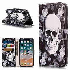 お買い得  iPhone 5S/SE ケース-ケース 用途 Apple iPhone XR / iPhone XS Max ウォレット / カードホルダー / スタンド付き フルボディーケース スカル ハード PUレザー のために iPhone XS / iPhone XR / iPhone XS Max