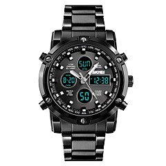 cheap Couple Watches-SKMEI Men's Couple's Sport Watch Dress Watch Quartz Black / Silver 30 m Water Resistant / Water Proof Three Time Zones Cool Analog Luxury Fashion - Silver Blue Silver / Black / Large Dial
