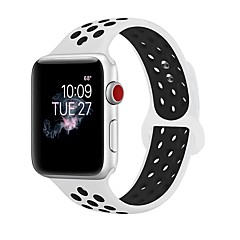 cheap Watch Accessories-Silica Gel Watch Band Strap for Apple Watch Series 3 / 2 / 1 Black / White 23cm / 9 Inches 2.1cm / 0.83 Inches