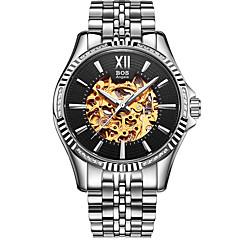 お買い得  メンズ腕時計-Angela Bos 男性用 リストウォッチ 自動巻き シルバー 30 m 耐水 透かし加工 カジュアルウォッチ ハンズ カジュアル - ブラック 黒とゴールド ゴールド / ホワイト 1年間 電池寿命 / ステンレス