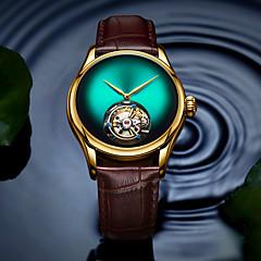 お買い得  メンズ腕時計-AngelaBOS 男性用 機械式時計 手巻き式 50 m 耐水 透かし加工 新デザイン 本革 バンド ハンズ ぜいたく ファッション ブラック / ブラウン - レッド グリーン ブルー / ステンレス
