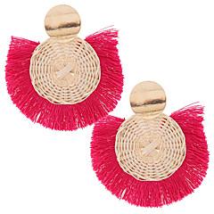 お買い得  イヤリング-女性用 編み ドロップイヤリング  -  タッセル, 欧風, ファッション レッド / グリーン / ダークネービー 用途 カジュアル