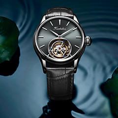 お買い得  メンズ腕時計-AngelaBOS 男性用 リストウォッチ 手巻き式 本革 ベルト素材 ブラック / ブラウン 30 m 耐水 透かし加工 新デザイン ハンズ ぜいたく ファッション - ゴールド / ホワイト ローズゴールド / ホワイト ブラック / ローズゴールド / ステンレス