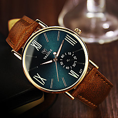 cheap -YAZOLE Men's Wrist Watch Quartz Brown Casual Watch Analog Casual - Black Blue Dark Green One Year Battery Life / Stainless Steel / SSUO 377