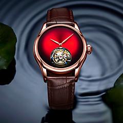 お買い得  メンズ腕時計-AngelaBOS 男性用 機械式時計 手巻き式 本革 ベルト素材 ブラック / ブラウン 30 m クリエイティブ 新デザイン カジュアルウォッチ ハンズ ぜいたく ファッション - レッド グリーン ブルー / ステンレス