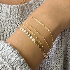 preiswerte Armbänder-4pcs Damen Gliederkette ID Armband - damas, Modisch, Elegant Armbänder Schmuck Gold Für Alltag Arbeit