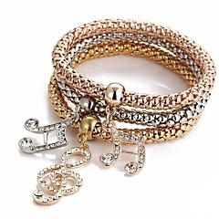 preiswerte Armbänder-Damen Mehrschichtig Armband mit Anhänger - Musiknote Süß Armbänder Rotgold Für Zeremonie Party / 3 Stück