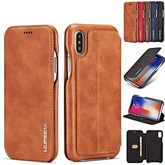 cheap iPhone X Cases-Case For Apple iPhone XR / iPhone XS Max Card Holder / with Stand / Flip Full Body Cases Solid Colored Hard Genuine Leather for iPhone XS / iPhone XR / iPhone XS Max