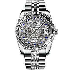 お買い得  メンズ腕時計-Angela Bos 男性用 リストウォッチ 日本産 自動巻き シルバー / ゴールド 30 m 耐水 カレンダー カジュアルウォッチ ハンズ ぜいたく カジュアル - ゴールド シルバー / ステンレス / 模造ダイヤモンド
