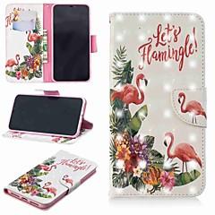 Недорогие Кейсы для iPhone X-Кейс для Назначение Apple iPhone XR / iPhone XS Max Кошелек / Бумажник для карт / со стендом Чехол Фламинго Твердый Кожа PU для iPhone XS / iPhone XR / iPhone XS Max