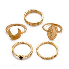 preiswerte Ringe-Damen Retro Knöchel-Ring Ring-Set Multi-Finger-Ring - Harz MOON Retro, Punk, Boho 8 Gold / Silber Für Geschenk Alltag Strasse / 5 Stück
