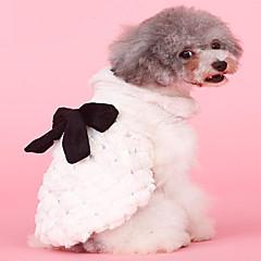 お買い得  犬用ウェア&アクセサリー-犬用 / 猫用 コート 犬用ウェア ソリッド / 蝶結び ベージュ プラッシュ コスチューム ペット用 女性 スタイリッシュ / リボン