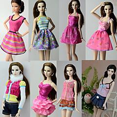 abordables Ropa para Barbies-Casual / Diario Disfraces 8 pcs por Muñeca Barbie  Poliéster Faldas / Top / Vestido por Chica de muñeca de juguete