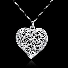 cheap Women's Jewelry-Women's Hollow Pendant Necklace - S925 Sterling Silver Heart, Love Ladies, Floral, Fashion, 3D Silver 45 cm Necklace Jewelry 1pc For Wedding, Party, Daily, Casual