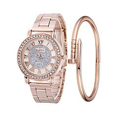 preiswerte Damenuhren-Damen Armbanduhr Quartz 30 m Kreativ Edelstahl Band Analog Modisch Silber / Gold / Rotgold - Gold Silber Rotgold