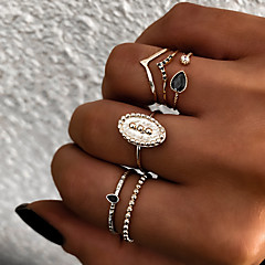 cheap Rings-Women's Retro Knuckle Ring Ring Set Multi Finger Ring - Resin, Alloy Sun Ladies, Vintage, Punk, Boho Jewelry Gold / Silver For Gift Daily Street Club Bar 8 6pcs