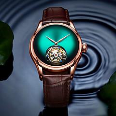 お買い得  メンズ腕時計-AngelaBOS 男性用 機械式時計 手巻き式 30 m クリエイティブ 新デザイン カジュアルウォッチ 本革 バンド ハンズ ぜいたく ファッション ブラック / ブラウン - レッド グリーン ブルー / ステンレス