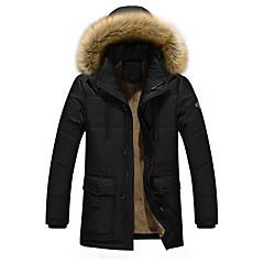 저렴한 남자 겉옷-남성용 일상 활동적 솔리드 보통 패딩됨, 폴리에스테르 긴 소매 겨울 후디 클로버 / 블랙 / 아미 그린 XXXXXL / XXXXXXL / 8XL