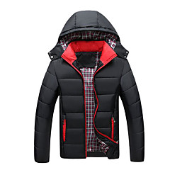 cheap Men's Downs & Parkas-Men's Daily Basic Solid Colored Plus Size Regular Padded, Polyester Long Sleeve Winter Hooded Blue / Black / Red XXXL / 4XL / XXXXXL