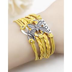 preiswerte Armbänder-Damen Geflochten loom-Armband - Leder Schmetterling Einfach Armbänder Gelb / Rot / Blau Für Alltag