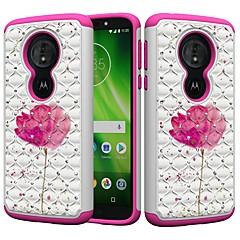Недорогие Чехлы и кейсы для Motorola-Кейс для Назначение Motorola MOTO G6 / Moto G6 Play Защита от удара / Стразы / С узором Кейс на заднюю панель Стразы / Цветы Твердый ПК для MOTO G6 / Moto G6 Play / Moto E5 Play