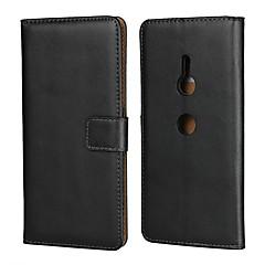 Недорогие Чехлы и кейсы для Sony-Кейс для Назначение Sony Xperia XZ2 Premium / Xperia XA3 Кошелек / Бумажник для карт / со стендом Чехол Однотонный Твердый Настоящая кожа для Sony XA2 Plus / Sony Xperia XZ2 Premium / Sony Xperia XZ3