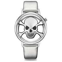 preiswerte Damenuhren-Damen Armbanduhr Quartz Armbanduhren für den Alltag Cool PU Band Analog Totenkopf Skelett Schwarz / Silber / Braun - Braun Schwarz und Gold Silber / schwarz