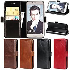 Недорогие Чехлы и кейсы для Huawei серии Y-Кейс для Назначение Huawei Honor V9 / Honor 9 Кошелек / Бумажник для карт / со стендом Чехол Однотонный Твердый Настоящая кожа для Honor 9 / Honor 8 / Huawei Honor V8