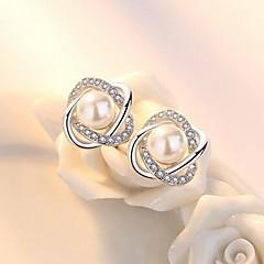 preiswerte Ohrringe-Damen Ohrstecker - Künstliche Perle Blume Stilvoll, Klassisch Silber Für Alltag