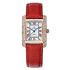 preiswerte Damenuhren-WWOOR Damen Kleideruhr Armbanduhr Japanisch Japanischer Quartz 30 m Wasserdicht Kreativ Armbanduhren für den Alltag Echtes Leder Band Analog Modisch Schwarz / Rot - Schwarz Rot