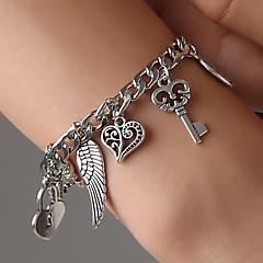 preiswerte Armbänder-Damen Retro Hohl Bettelarmbänder - Elefant, Schlüssel, Herz Modisch, Koreanisch Armbänder Silber Für Geschenk Alltag Bar